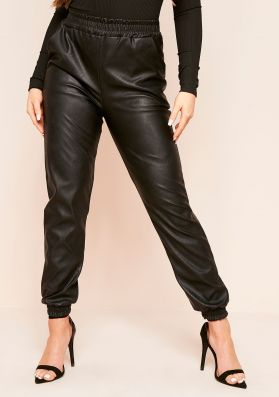 Ezra Black Faux Leather Joggers
