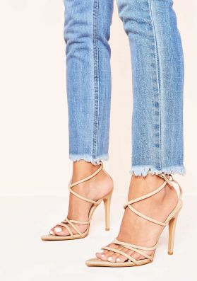 Fleur Nude Pointed Strappy Heels