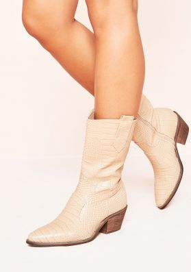 Hillary Beige Chunky Cowboy Boots