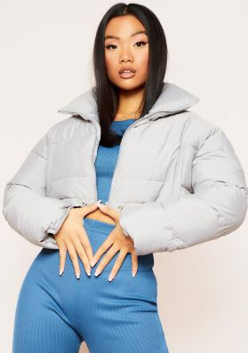 Kylie Grey Drawstring Waist Cropped Puffa Coat