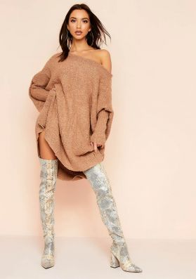 Tia Camel Soft Knit Jumper Dress
