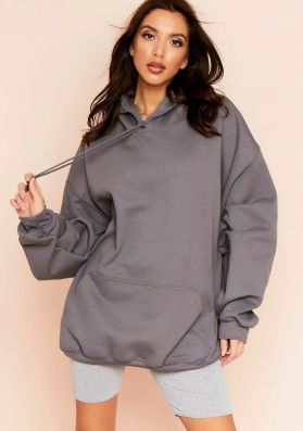 Vickie Charcoal Oversized Drawstring Hoodie