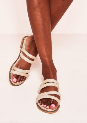 Velma Beige Faux Suede Strappy Sandals