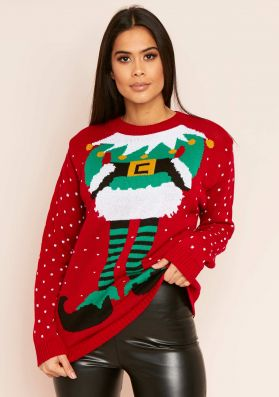 Red Elf Knitted Christmas Jumper