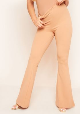 Lorezza Nude High Waisted Flared Trousers