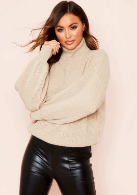 Della Stone Balloon Sleeve Roll Neck Knitted Jumper