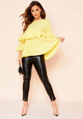 Sophie Yellow Pleated Layered Top