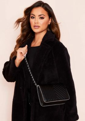 Tia Black Faux Leather Quilted Pearl Chain Bag