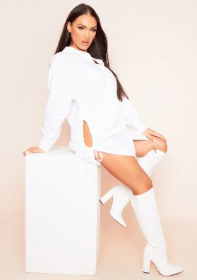 Shelby White Ruched Side Shirt Dress