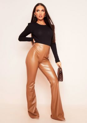 Kendra Brown Vegan Leather PU Flared Trousers