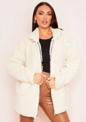 Elma Cream Borg Zip Up Oversized Coat