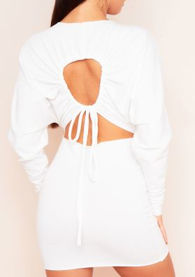 Larsa Cream Ruched Sleeve Cut Out Jumper Dress