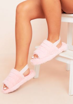 Olivia Pink Fluffy Slippers With Missy Band