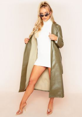 Laurie Khaki Vegan Leather Belted Trench Coat