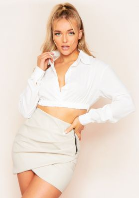 Dolly White Plunge Front Cropped Shirt