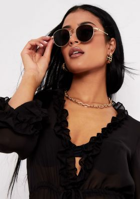 Robyn Black Sunglasses With Gold Frame