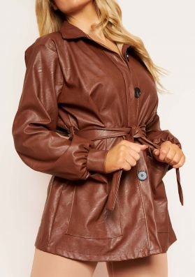 Cila Brown PU Belted Jacket