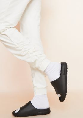 Rebecca Black Rubber Ribbed Sole Sliders