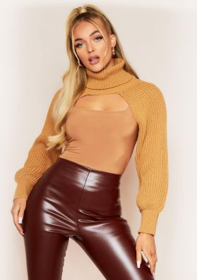 Ruth Camel Extreme Crop Roll Neck Knitted Sleeve Top