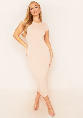 Candice Beige Jersey Short Sleeve Maxi Dress