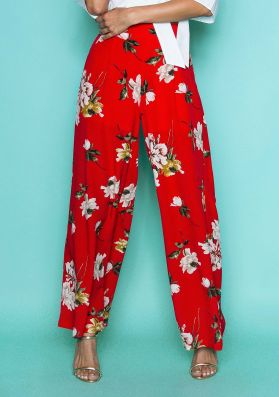 Judith Red Floral Wide Leg Trousers