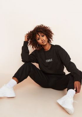 Ruth Black Female Slogan Oversized Tracksuit Sweatshirt