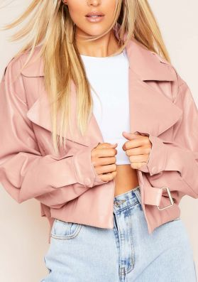 Alva Pink Cropped Faux Leather Jacket
