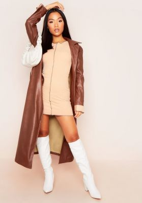Laurie Chocolate Vegan Leather Belted Trench Coat