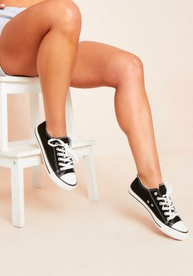 Hailey Black Lace Up Trainers
