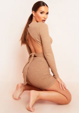 Emma Camel Brushed Rib Wrap Back Tie Waist Crop Top