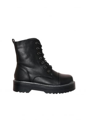 Tamia Black Faux Leather Chunky Lace Up Boots