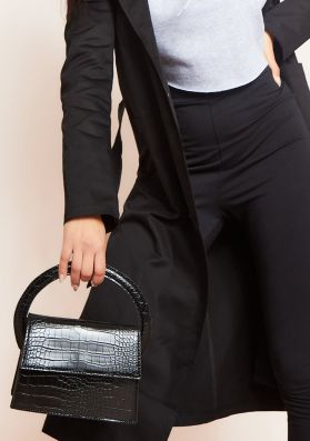 Hira Black Croc Print Mini Bag