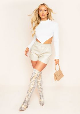 Reesa Stone Vegan Leather Shorts