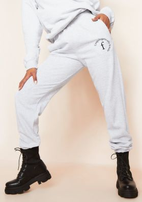 Lila Grey Unapologetically Female Slogan Oversized Tracksuit Joggers