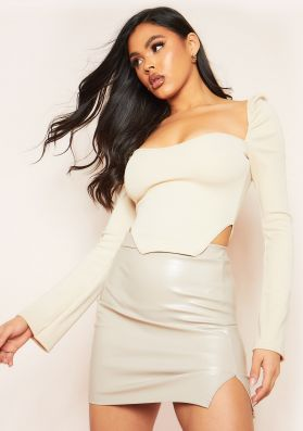 Jasmine Stone Ribbed Long Sleeve Corset Top