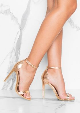 Lily Rose Gold Metallic Barely There Heels