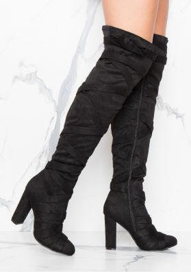 Ivana Black Strap Detailing Over The Knee Heeled Boots