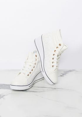 Marli Cream Lace Zip Up Wedge Trainers