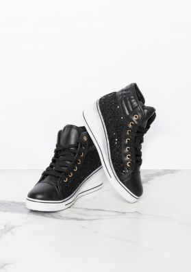 Marli Black Lace Zip Up Wedge Trainers