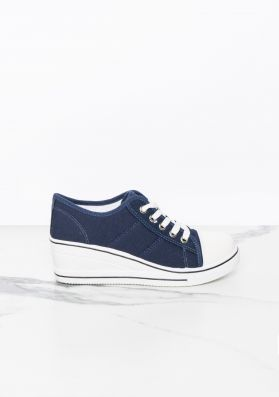 Agnes Navy Cotton Lace Up Wedge Trainers