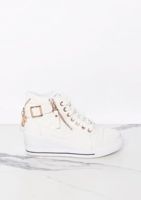 Cat Cream Lace Up Quilted Chain Wedge Trainers