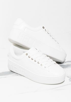 Mable White Slogan Platform Trainers