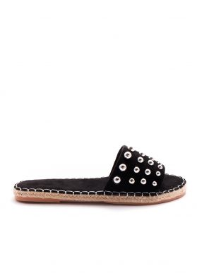 Lydia Black Silver Ball Stud Espadrille Mules