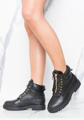 Mazie Black Faux Leather Industrial Boots