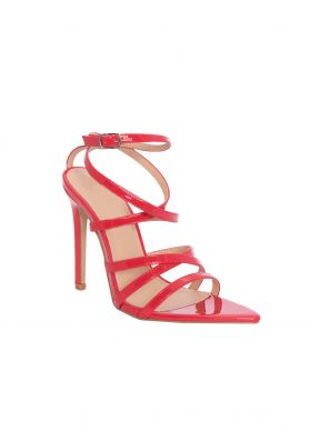 Ines Red Strappy Patent Pointed Heels