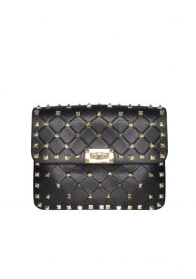 Vanessa Black Gold Studded Cross Body Bag