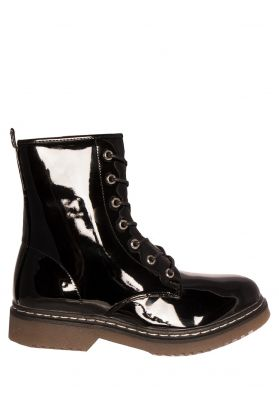 Lexi Black Patent Lace Up Chunky Boots