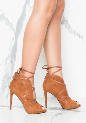 Inga Camel Suede Cut Out Ankle Tie Heels
