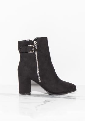Brooke Black Buckled Faux Suede Ankle Boots