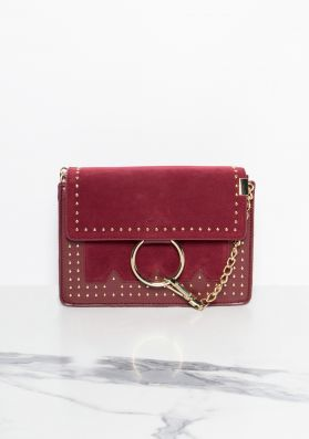 Tilbury Wine Ring Detail Stud Cross Body Bag